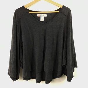 Free People Beach Gray Batwing Shirt XL